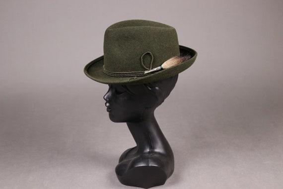 1960's ZINAL SPORT Hunting Green Fedora Hat - 60'… - image 1