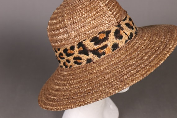 vintage Brown Straw Hat with Leopard Band - 80's … - image 3