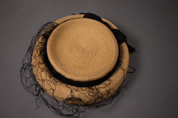1950's Side Straw Hat - 50's Straw Elegant Summer… - image 7
