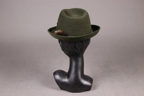 1960's ZINAL SPORT Hunting Green Fedora Hat - 60'… - image 4