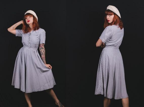 1940's Polka Dot Light Blue Day Dress - 40's Below
