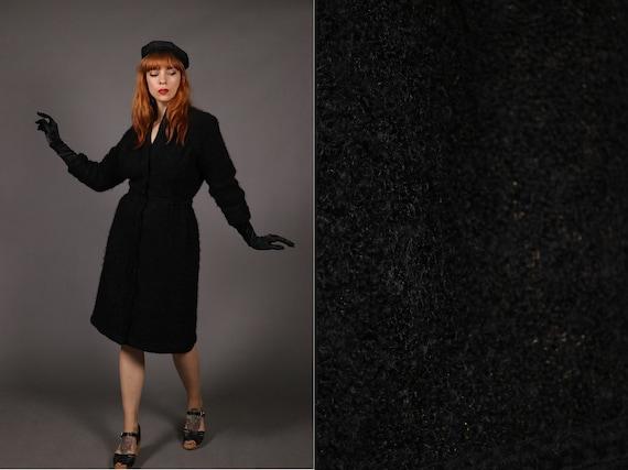 1940's Angora and Gold Thread Black Dress - 1950's
