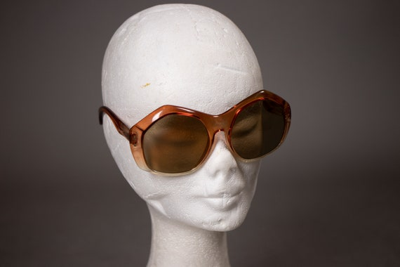 1960's Oversized Sunglasses - 60's Big Clear Pink
