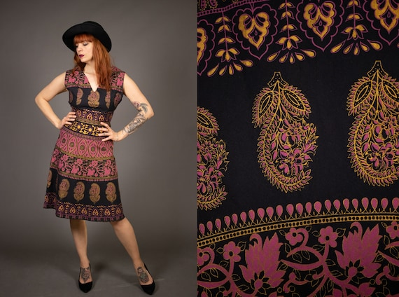 Late 1950's Hand Printed Batik Cotton Dress - Size