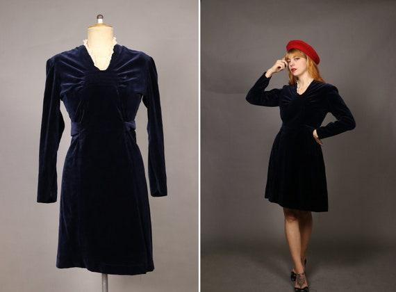 1940's Blue Velvet Winter Dress - Size S/M - image 1