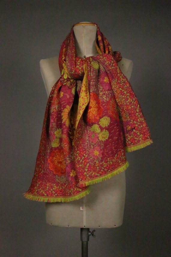 1970's KENZO Large Floral Wool Scarf - image 9