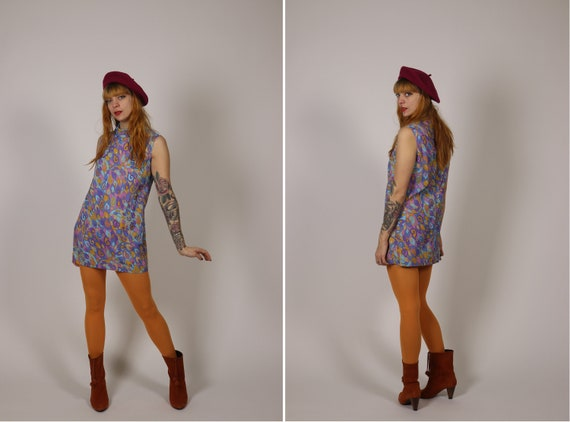 1960's Mini Psychedelic Mod Girl Dress - Size S