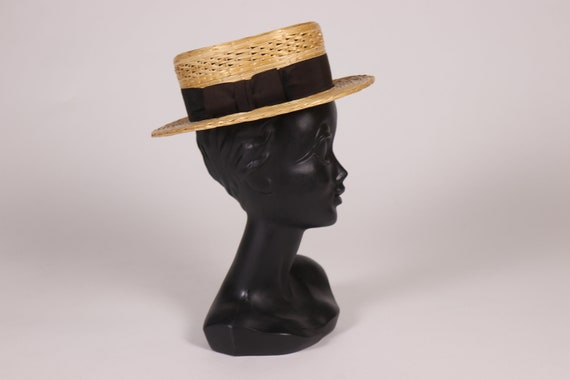 1910s Boater Hat with black ribbon