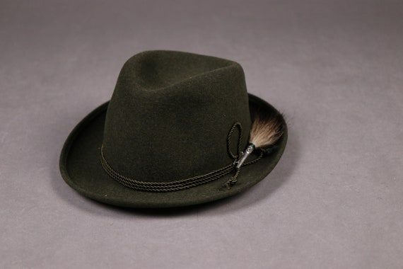 1960's ZINAL SPORT Hunting Green Fedora Hat - 60'… - image 6