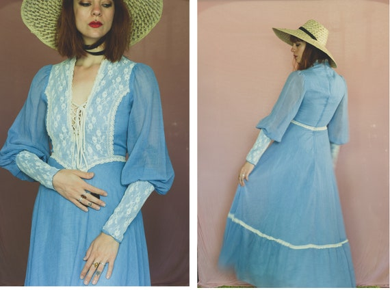 1970's Gunne Sax Romantic Maxi Prairie Dress - Siz
