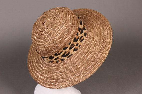 vintage Brown Straw Hat with Leopard Band - 80's … - image 4