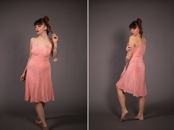 1940's Salmon Slip Dress - 40's Rayon Slip Dress -
