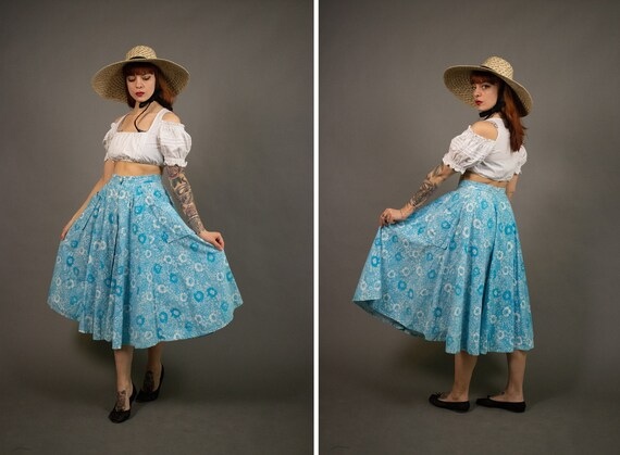 1980's LAURA ASHLEY Blue Floral Full Skirt - Size