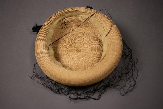 1950's Side Straw Hat - 50's Straw Elegant Summer… - image 2