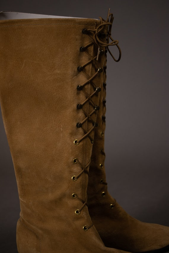 1960's HUSH PUPPIES Tan Suede Leather Gogo Boots … - image 3