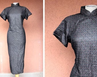 1970's Unusual Cheongsam Metallic Threads Black Dress - Size M/L #617