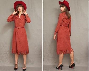 1970's Western Faux Suede Dress - Size Xs / S