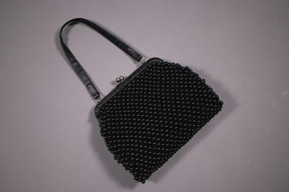 1950's Black Beaded Bag - 50's Plastic Beads Clutc
