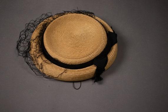 1950's Side Straw Hat - 50's Straw Elegant Summer… - image 8