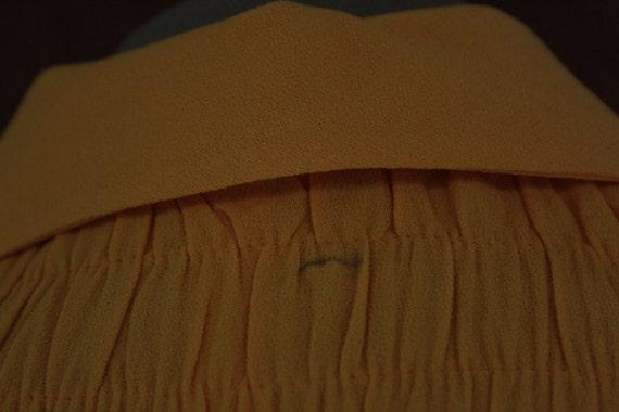 1970's Mini Yellow Crepe Dagger Collar Dress - 70… - image 3