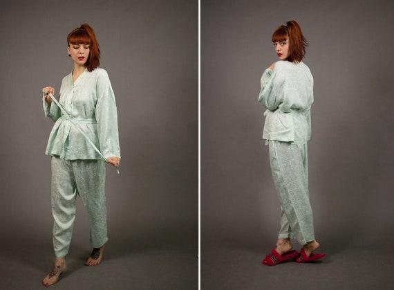 1970's-1980's EMMANUELLE Mint Green Silk Pyjamas -