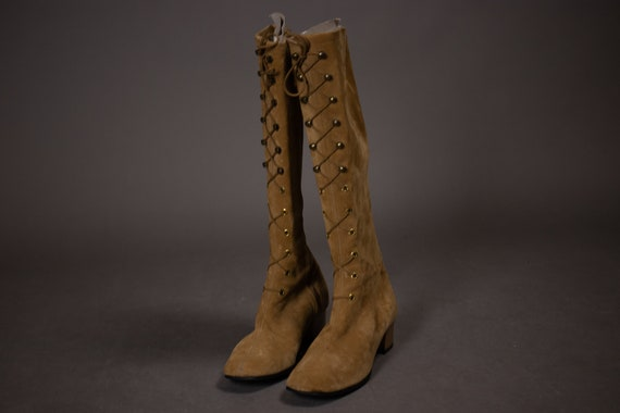 1960's HUSH PUPPIES Tan Suede Leather Gogo Boots … - image 8