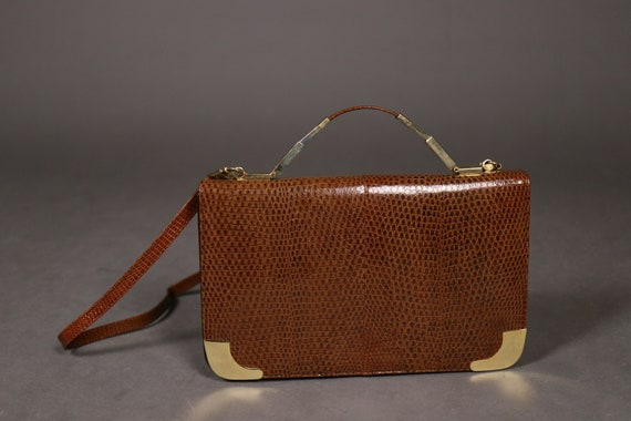 1960's -1970's Brown Lizard Bag - 60's Top Handle