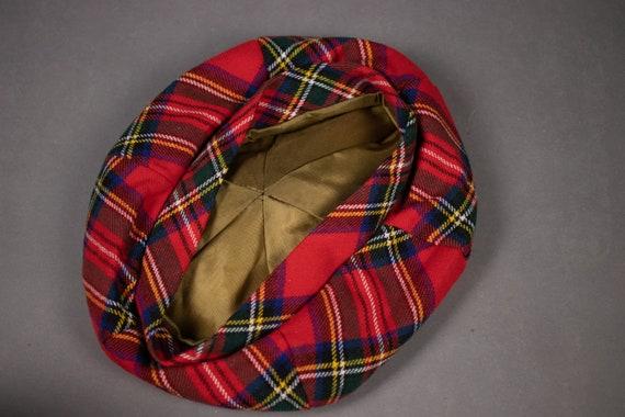 1960's Tartan Wool Beret - 60's Red Scottish Plai… - image 3