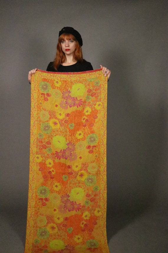 1970's KENZO Large Floral Wool Scarf - image 4