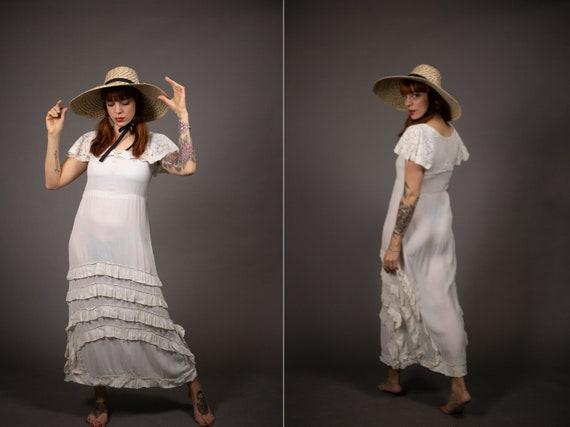 1930's Maxi White Rayon Dress - 30's Peasant Dress