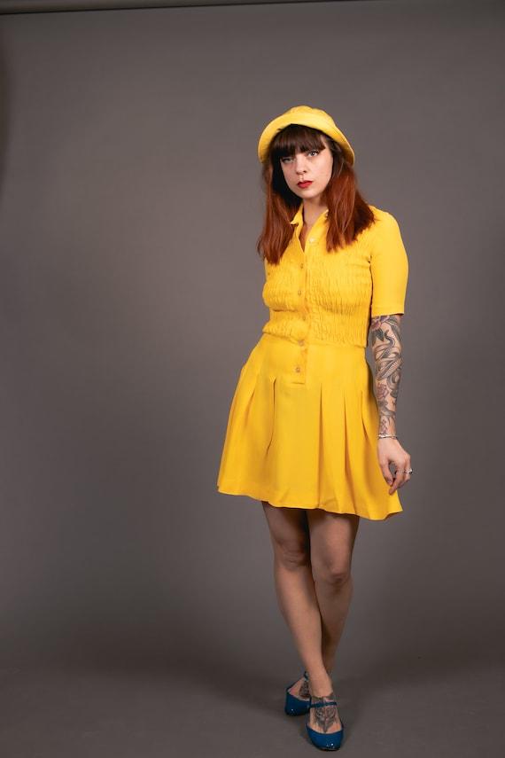 1970's Mini Yellow Crepe Dagger Collar Dress - 70… - image 5