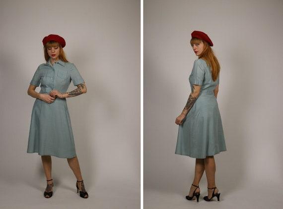 1950s Light Blue Dress - Size S