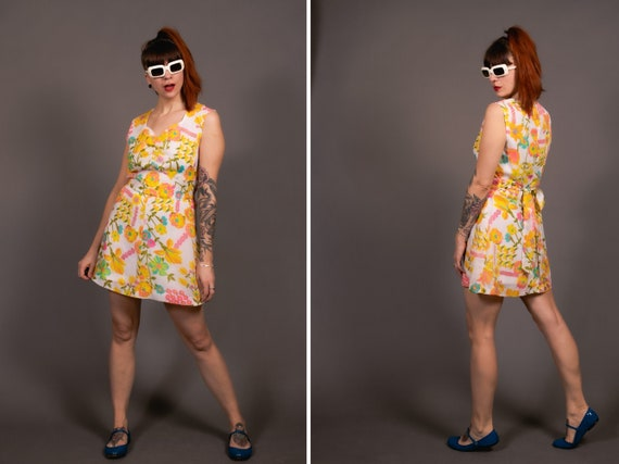 1960's Floral Mini Belted Dress - 60's Mod Girl Ps