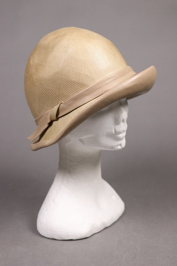 1920's Straw and leather Summer Cloche Hat -  20'… - image 3