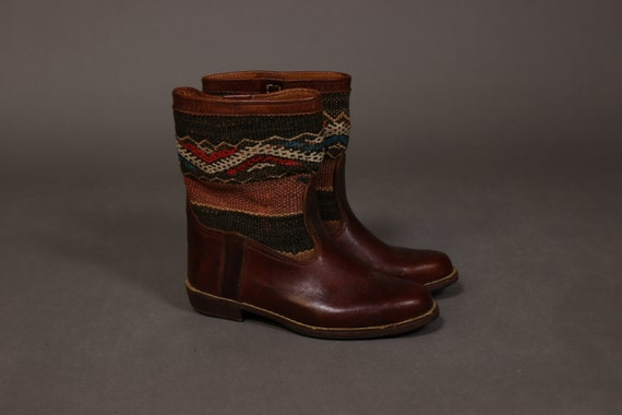 1970's Brown Leather and Wool Mexican Boots - size