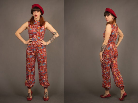 RARE - 1960's Colorful Psychedelic Jumpsuit - Size
