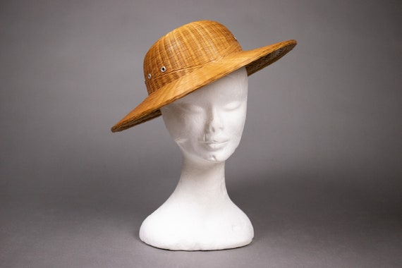 1940's Colonial hat sturdy straw hat - 1940's Col… - image 7