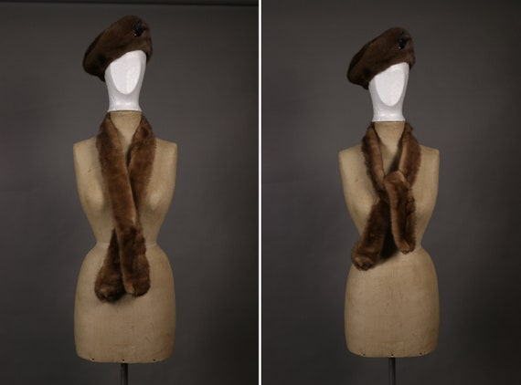 1940's French Fur Beret Hat and Scarf Set - 40's F