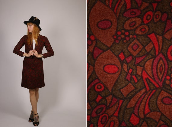 1960's Brown, Red and Green Wool Suit - 60s Psyche