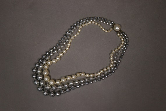 1930's Real Pearl 3 Rows Necklace - 30's Brass and