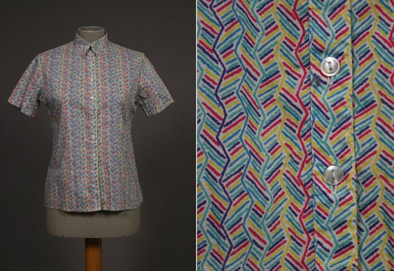 1970's LIBERTY of LONDON Chevron Colorful Cotton B