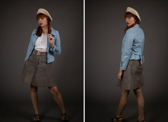 1970's Dagger Collar Baby Blue Jacket - 1970's Poi