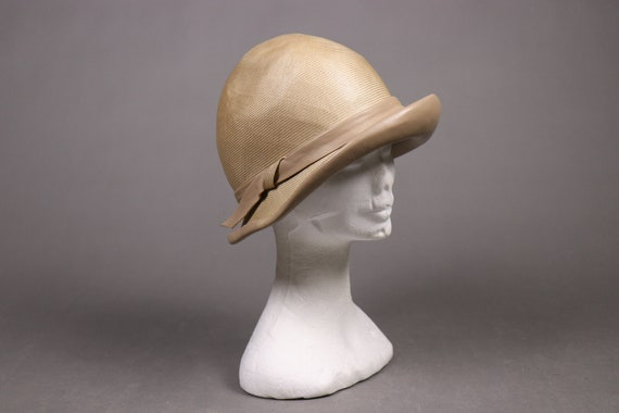 1920's Straw and leather Summer Cloche Hat -  20'… - image 2