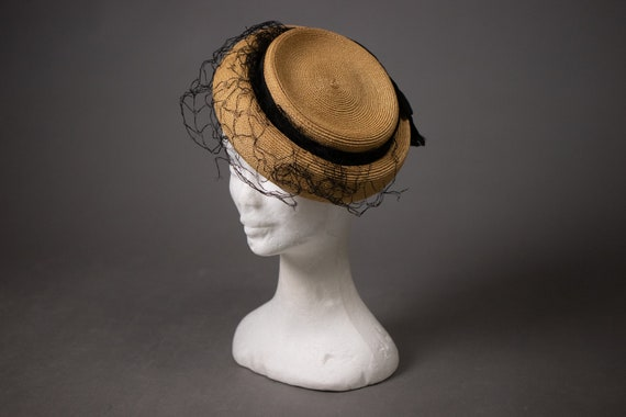 1950's Side Straw Hat - 50's Straw Elegant Summer
