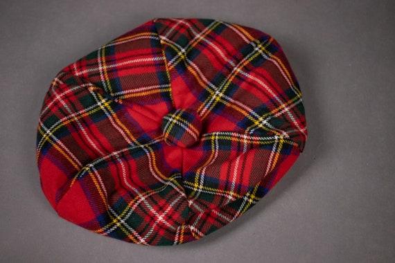 1960's Tartan Wool Beret - 60's Red Scottish Plai… - image 6