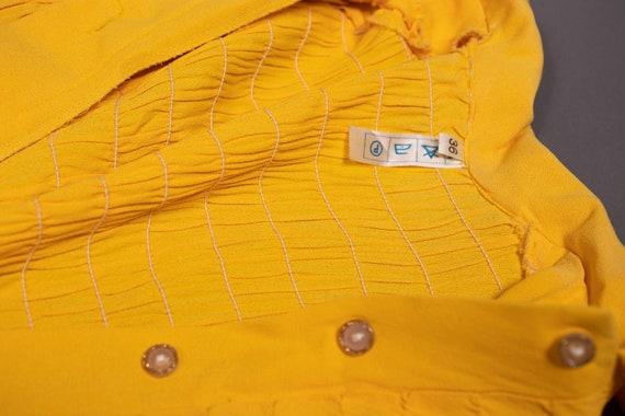 1970's Mini Yellow Crepe Dagger Collar Dress - 70… - image 10