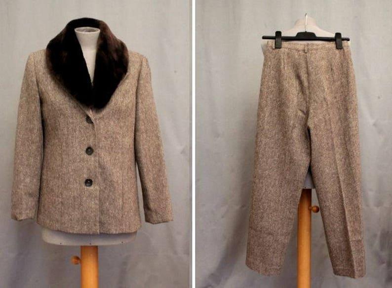 1980/'s Wool Beige Suit 80/'s Faux Fur Pants Suit Size S