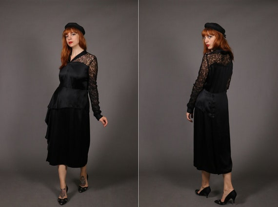 1930's ART DECO Black Rayon Dress - 30's Lace and