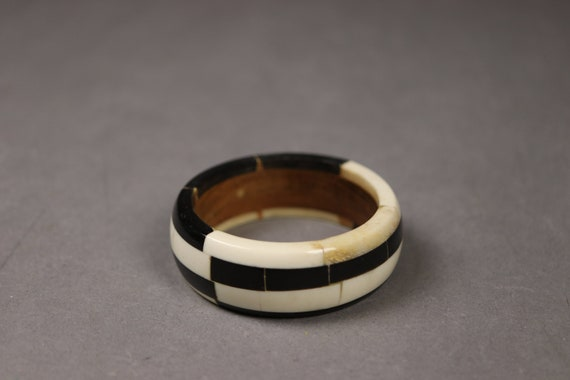 1950's Black and White Horn and Wood Bracelet