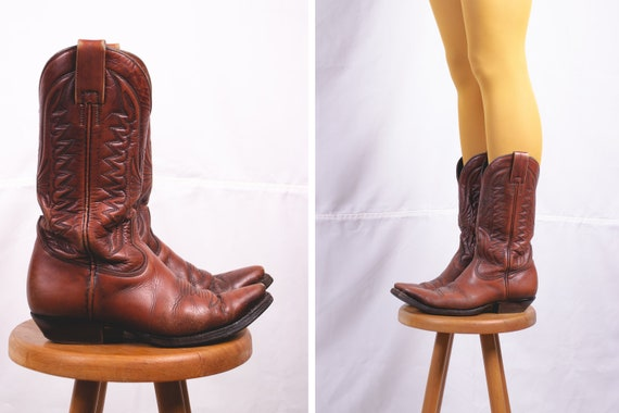 1970's Brown Leather Cowboy Boots - Size 38
